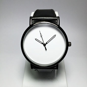 Mens Watch, Minimalist Watches, Black and White, Leather Bracelet, Mens Jewelry, Modern Minimalist, Gift, Simple, Watches for Men, Silicone
