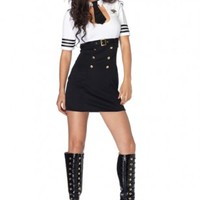 BLACK WHITE FIRST CLASS CAPTAIN 2 PIECE COSTUME OUTFIT @ Amiclubwear costume Online Store,sexy costume,women's costume,christmas costumes,adult christmas costumes,santa claus costumes,fancy dress costumes,halloween costumes,halloween costume ideas,pirate