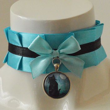 Lolita neko collar - Night kitty - turquoise blue satin and black choker - wiccan witch cat choker - kitten play kawaii cute cosplay costume