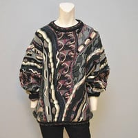 Vintage Crazy Patterned Coogi Style Sweater Men's Textured Patterned Pullover Sweater Cosby Sweater Tacky Baggy Size Large 1980's or 1990's