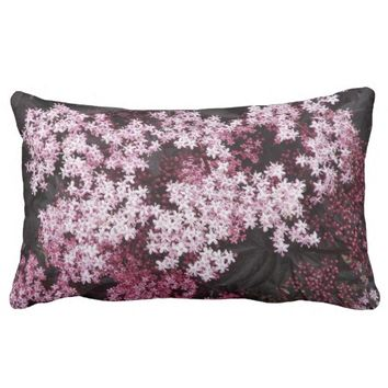 Black Lace Elderberry Floral Lumbar Pillow