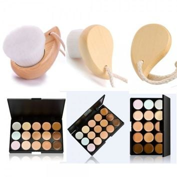 15-Color Contour Face Cream Concealer Palette Kit with Wooden Facial Cleaning Brush