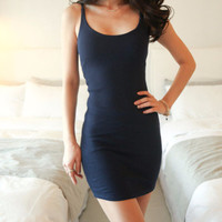 Black Spaghetti Strap Mini Dress