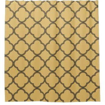 gold,black,moroccan,quatrefoil,pattern,modern,tren shower curtain