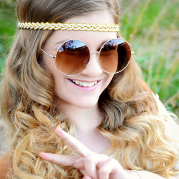 Boho Gold Headband - Gold White Braided Headband - Hippie Headband - Bridal Headband - Boho Headband - Halo Headband - Adult Headband - Halo