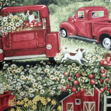 Country Living Pick Up Susan Winget Fabric 100% cotton 1 yard Coyntry Living apples red pick up truck quilting red gold green cream
