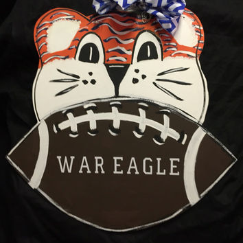 Auburn door hanger - Aubie - Tiger door decor - Auburn Tigers - War Eagle - Nursery decor - Football door hanger - ©Jack Jack's Wayart