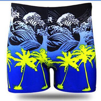 Men Elastic Swimwear Male Print Tree And Waves Swimsuit Plus Size Beachwear Anti-wrinkle Swim Trunks Boxer Shorts Bathing Suit