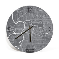 Sacramento, California, Map Art Wall Clock