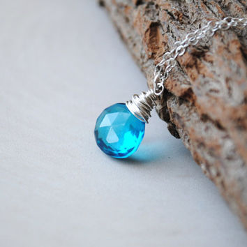 Blue Zircon Quartz Necklace, December Birthstone Necklace, Wire Wrapped Handmade Jewelry