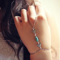 silver triangle and turquoise slave bracelet, geometric bracelet, bracelet ring, ring bracelet, art deco