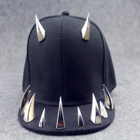Men's Women's Unisex Ox Horn Pattern Snapback Hats,Punk Hip Hop Cap,Flat Brim Baseballs Spike Rivet Hat