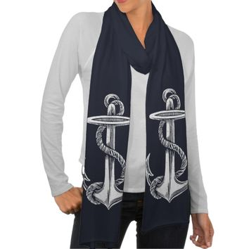 Anchor Vintage White Navy Scarf