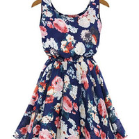 Blue Pleated Floral Sleeveless Dress
