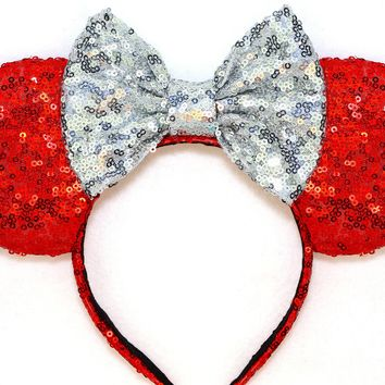 Red Sequin Ears and Silver Bow