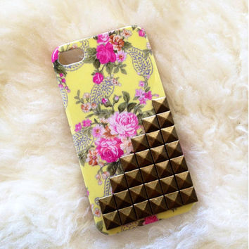 Floral iphone 4, OR Iphone 5 case-yellow Victorian Flower studded hard plastic case