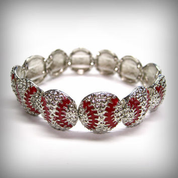 Metal Baseball Stretch Bracelet