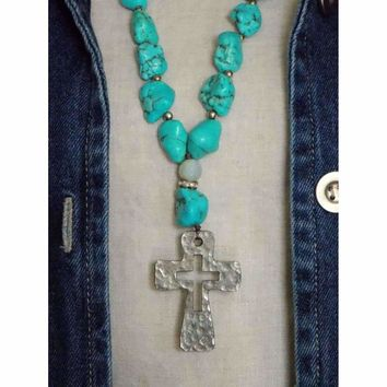 Chunky Turquoise and Cross Necklace