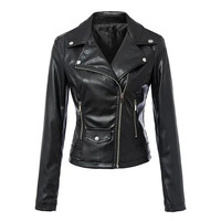 Black Faux Leather Slim Fit  Crop Biker Jacket