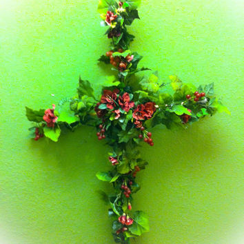 Cross wall decor.Ivy vines and silk flower swag with grapes