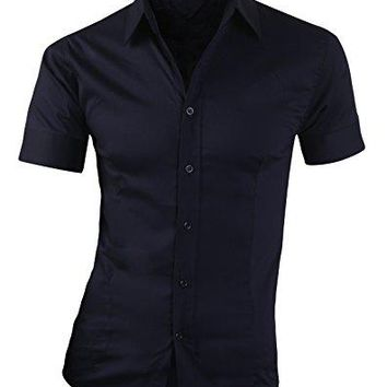 Men's Casual Slim Fit Shirts WIZI Short Sleeve Button Down Color Dress Shirts