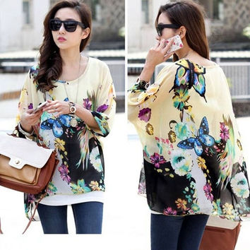 Summer Loose shirt Women Batwing Sleeve Chiffon Shirt Bohemian Butterfly Oversized Tops