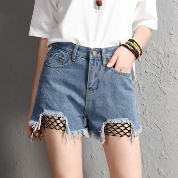 Fashion Summer Splicing Fishnet Mesh Ripped Denim Shorts Women High Waist Sexy Denim Short Jeans VQ752-2