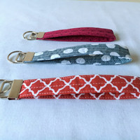 Wristlet Key Chain, Wristlet Key Fob, Lanyards, Grey Polka, Brown Quatrefoil