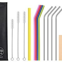 TISRO Reusable Straws, 4 Metal+4 Silicone(BPA Free)+1 Boba Drinking Straws, Mouth-Safe Design with Cleaning Brushes and Carry Bag. (Black)