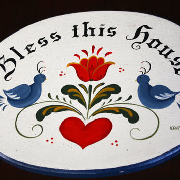 Hand painted Bless This House Hex Sign
