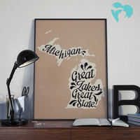 "Michigan Wall Art - ""Great Lakes, Great State!"" 