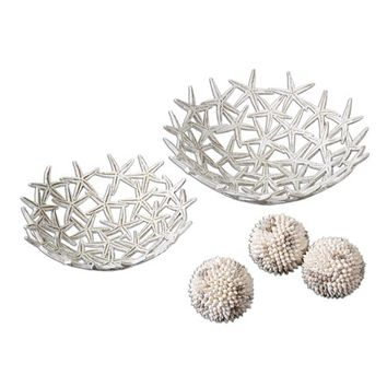 Uttermost 19557 Starfish Bowls With Spheres, Set of Five (Clearance Priced)