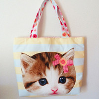 Kawaii Neko Bag - Zippered Pocket and Open Pocket Floral Fabric Promoted By Skye Walker Happy