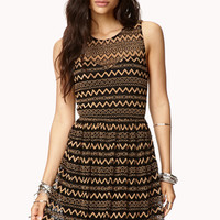 FOREVER 21 Darling Zigzag Dress Black/Taupe Medium