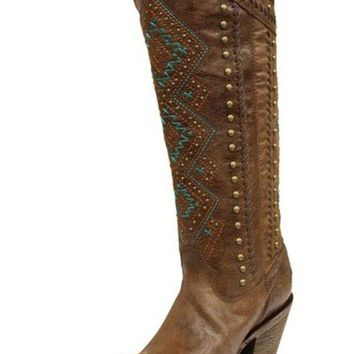 ONETOW Corral Chedron Turquoise Ethnic Pattern & Stud Boots C2897