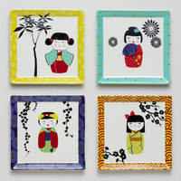 Kokeshi Plates, Set of 4