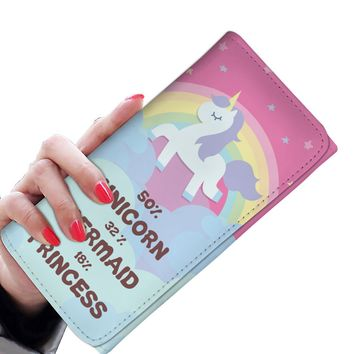 '50% Unicorn, 32% Mermaid, 18% Princess' Women's Clutch Purse Wallet