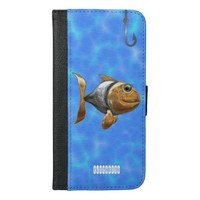 Golden Silver Sparkling Fish With Fishing Hook iPhone 6/6s Plus Wallet Case