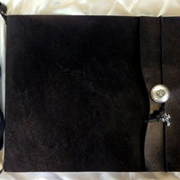 """Large Refillable """"Knight"""" Sketchbook with Shoulder Strap - Black Leather, Journal, Drawing Pad, Photo Album, sketch book, Guest Book"""