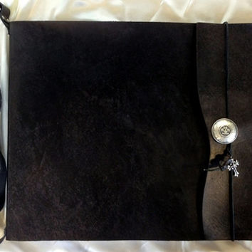 "Large Refillable ""Knight"" Sketchbook with Shoulder Strap - Black Leather, Journal, Drawing Pad, Photo Album, sketch book, Guest Book"