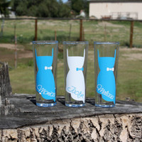 9 Personalized shot glasses. Great for bachelorette and wedding parties. Custom shot glasses.
