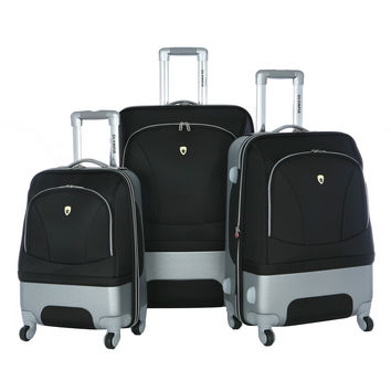 Olympia Majestic 3 piece Hybrid Expandable Airline Outdoor Travel Rolling Luggage Suitcase set in Black