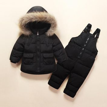Newborn Winter Down Jacket Baby Snowsuit Infant Overcoat Kids Snow Wear Jumpsuit White Duck Down Boys Girls Skiing Suit Z135