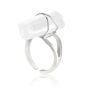 White Adjustable Crystal Ring