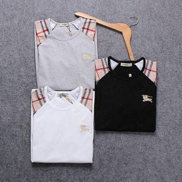 DCCKUN2 Burberry Men Fashion Casual Letter Print Shirt Top Tee