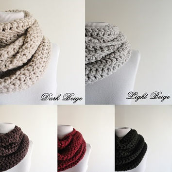 Extra Large Chunky Infinity Scarf Loop Circle Thick Knit Scarf Unisex Dark Beige / Women's Infinity Scarf / Men's Infinity Scarf