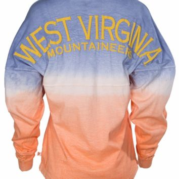 Official NCAA West Virginia University Mountaineers Hail WVU Women's Long Sleeve Tie Dye Spirit Wear Jersey T-Shirt