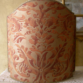 Venetian Lamp Shade in Fortuny Fabric Rust & Gold Sevigne Pattern - Handmade in Italy