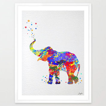 Baby elephant trunk up Watercolor illustration Art Print,Wall Art Poster,Nursery/Kids Art Print,Wall Hanging,Wedding,Birthday Gift, #157