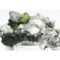 Green Titanite Sphene Crystal with white Calcite, green chlorite and black ilmenite Natural Mineral Specimen